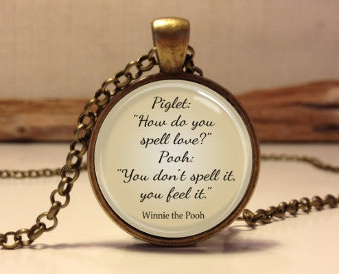 Cute Piglet And Pooh Quote Necklace