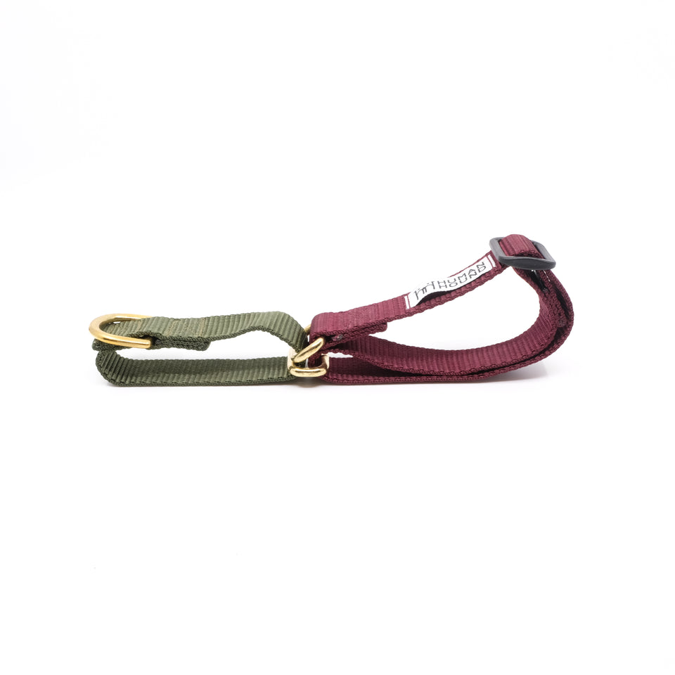 Martingale Collar - Olive x Burgundy