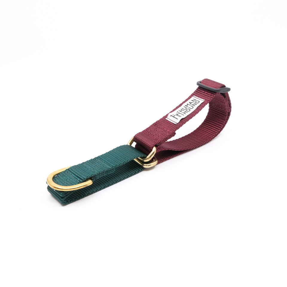Martingale Collar - Dark Green x Burgundy