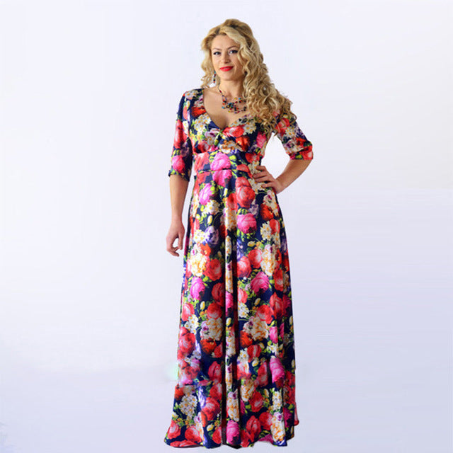 Plus Size Floral Maxi Dress with Sleeves
