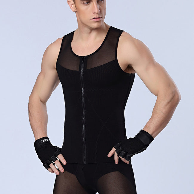 One-piece Shaper - Power Men Slimming Vest zipper Body Shaper