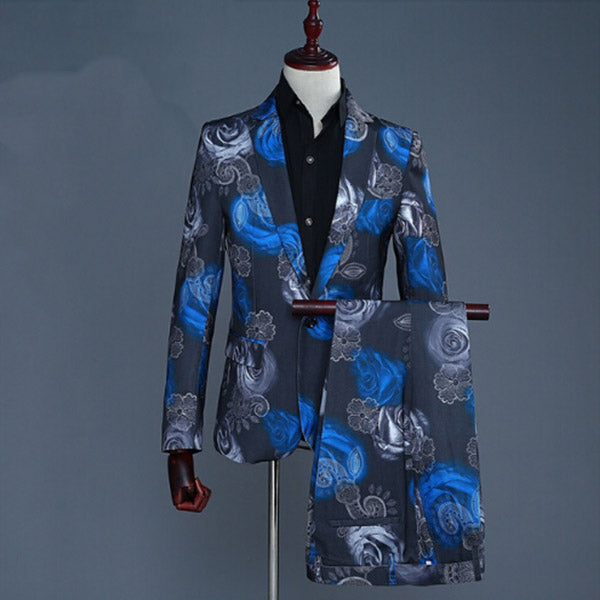 Men Suit 2018 New Tide Men Fashion Blue Red Rose Floral Print