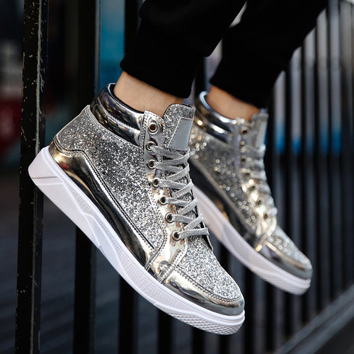 Sneakers - Gold Shoes Men High-top Night Club Sneakers
