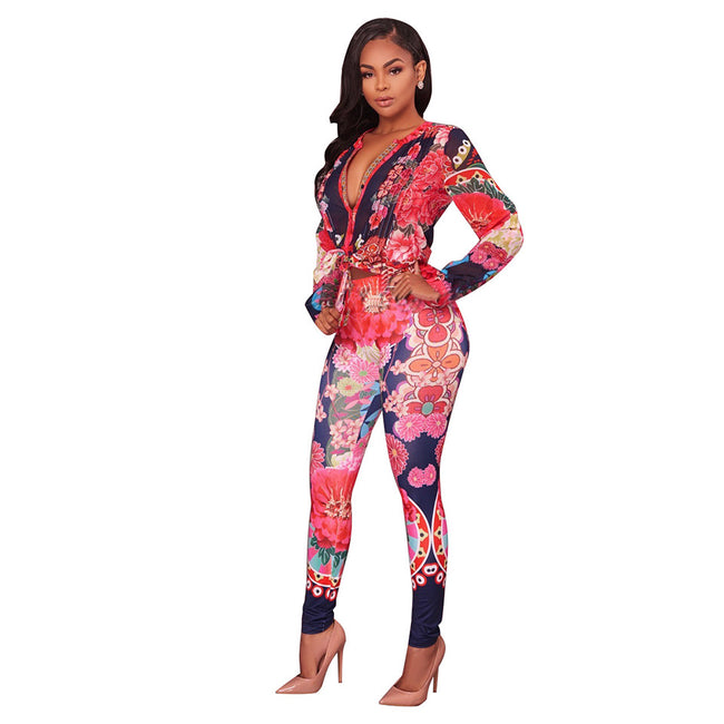 Set - Gorgeous Floral Print Two Pieces Set