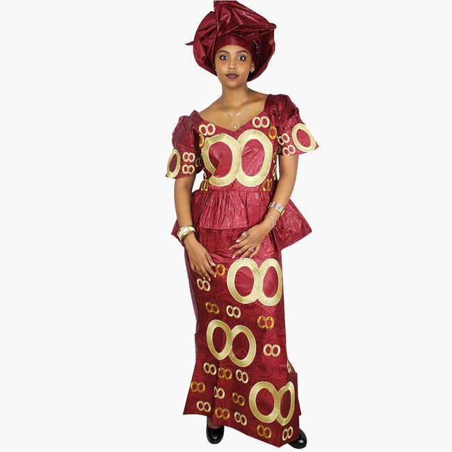 Dress - African Bazin Riche Embroidery Dress With Scarf