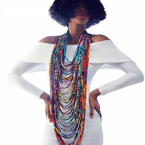 Necklace - African Wax Print Multi-layer Rope Necklace