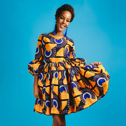 Skater Dress - Fashion African Print Dashiki Puff Sleeves Skater Dress