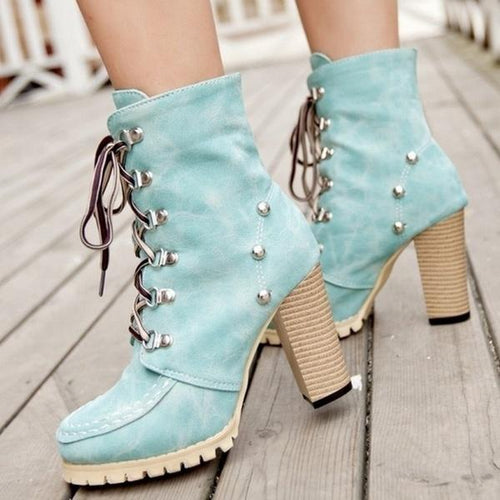 Ankle Boots - New Fashion Rivets Punk Style Gladiator Boots