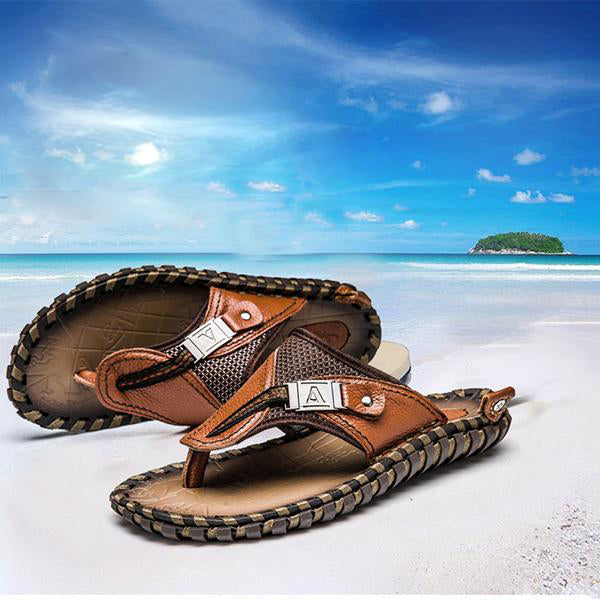 Men's Shoes - Luxury Men's Flip Flops Genuine Leather Beach Sandals
