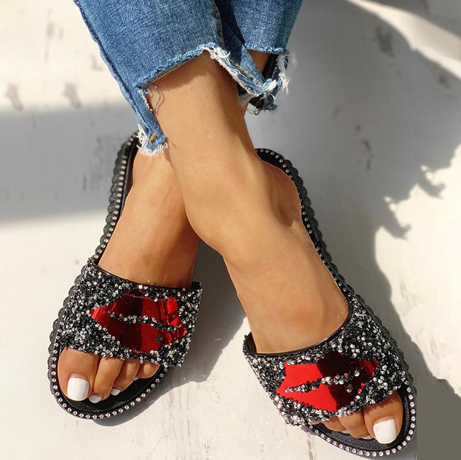 Sandals - Mouth Studded Design Flat Sandals