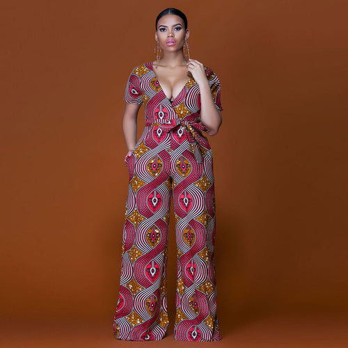 Jumpsuit - Casual African Print Short Sleeve Jumpsuit