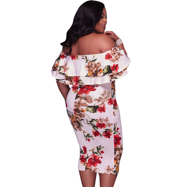 Dress Plus Size Off Shoulder Dresses Layered Ruffle Bodycon Dress