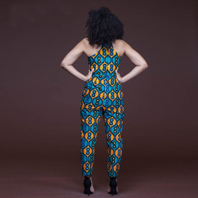 Jumpsuit - African Print Clothing Sleeveless Halter Jumpsuit