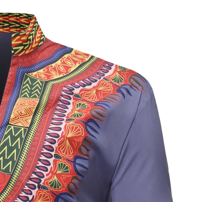 Men's Tops - Dashiki V-Neck Vintage Ethnic Printed Long Sleeve T-Shirt
