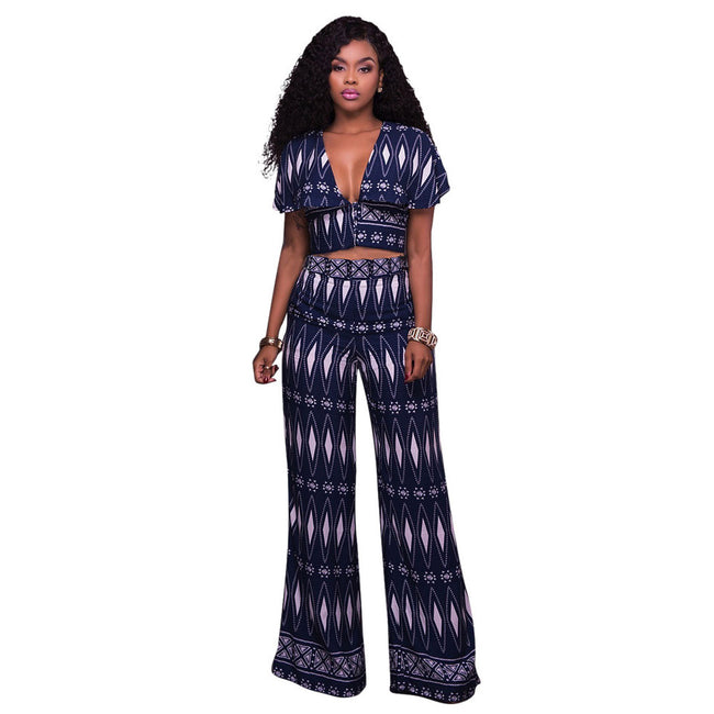 Set - Sexy Deep V-Neck Crop Top and Pants Set