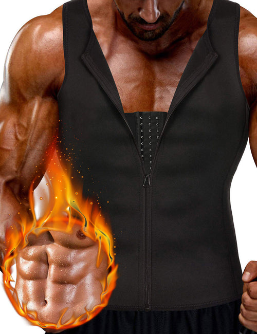 3 Rows Hooks Neoprene Mens Big Size Slimming Vest