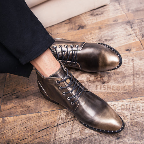 Men Boots - Leather Motorcycle Dress Shoes Martin Boots