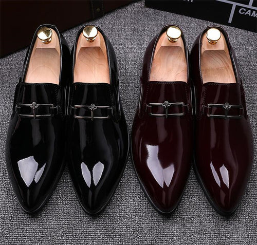 Formal Shoes - Shine Pointed Metal Buckle Formal Shoes