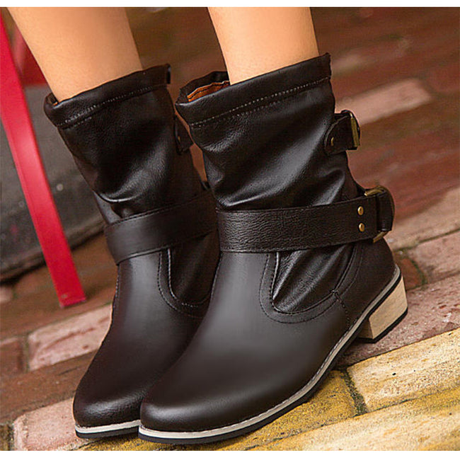 Boots - Brand Gothic Punk Motorcycle Ankle Boots for Women