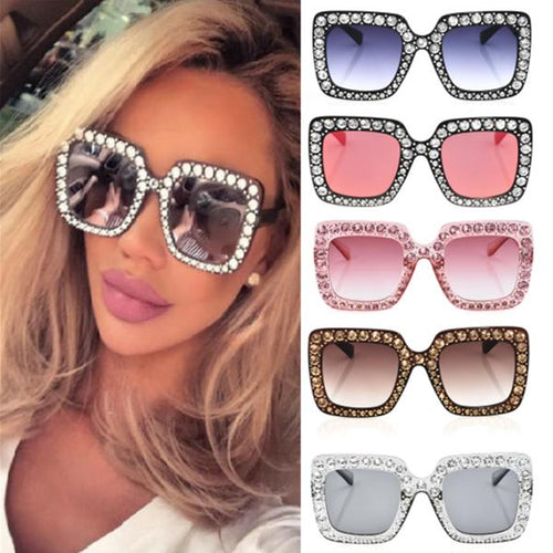 Sunglasses - Crystal Decorated Rim Square Sunglasses