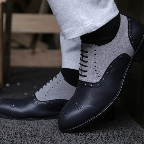 Dress Shoes - Handmade Pointed Toe Leather Oxfords Formal Shoes