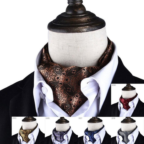 Men Accessory - Vintage Polka Dot Wedding Formal Cravat Ascot Scrunch
