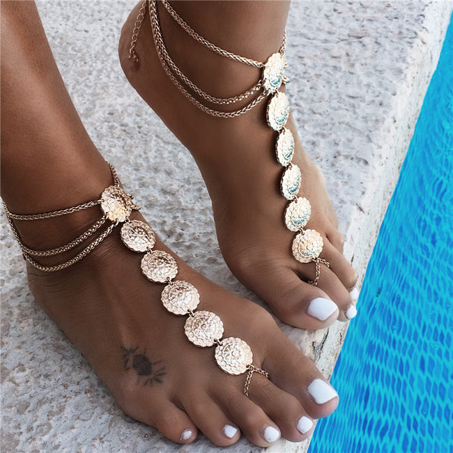 Foot Accessories - Vintage Ankle Round Carving Flower Coins Foot Jewelry