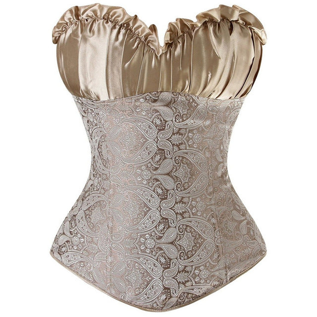 Shaping Top - Lace Ruffles Satin Overbust Corset