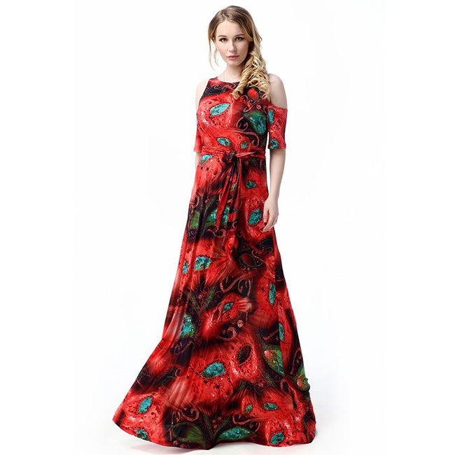 Long Dress - High Quality Plus Size Belted Floral Print O Neck Beach Dress