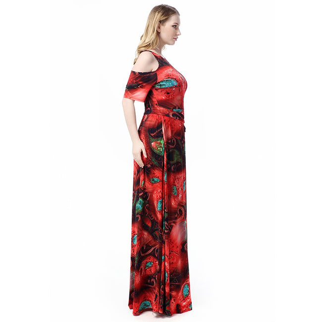 Long Dress - High Quality Plus Size Belted Floral Print O Neck Beach ...