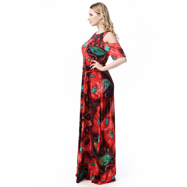 Long Dress High Quality Plus Size Belted Floral Print O Neck Beach