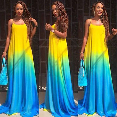 Long Dress - Plus Size Gradient Colors Long Sundress