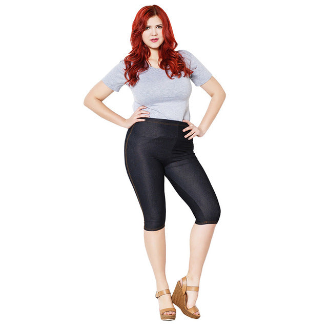 Capri Pants - Plus Size High Elastic Sexy Jeans