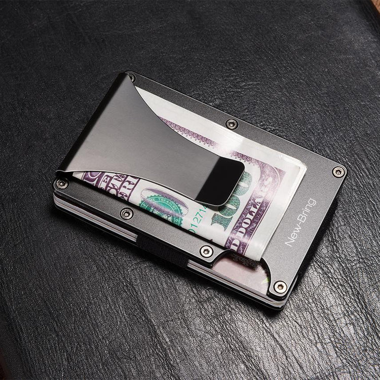 mens wallet metal mini money clip credit card id card holder with rfid anti thief wallet - Money Clip Credit Card Holder