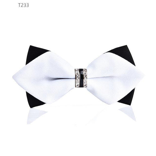 Men Tie - Bling Crystal Metal Decoration Sharp Corners Bow Tie Butterfly Knot Men's Tie