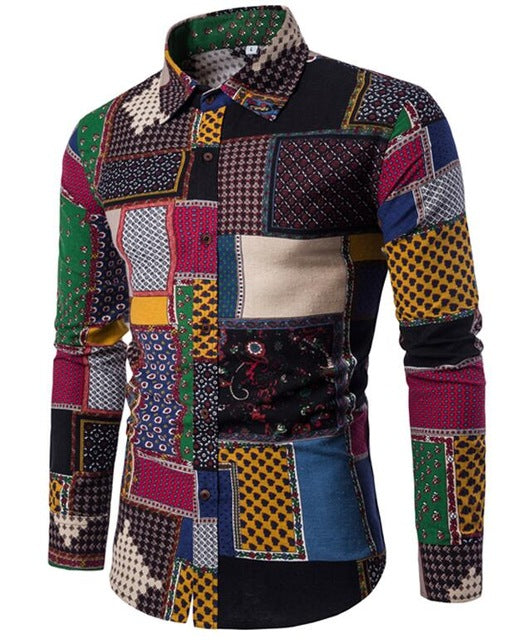 Men's Tops - Lapel Linen Ethnic Print Luxury Shirt