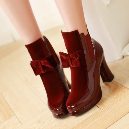 Boots - Plus Size Patent Leather  Mid Calf Boots