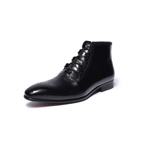 Men Shoes - Genuine Leather High Top Zip Lace Up Men Ankle Boots