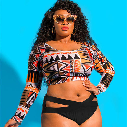 Swimwear -  Plus Size Sexy High Waist Patchwork Long Sleeves Swimwear