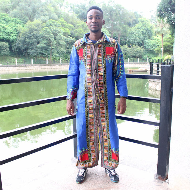 Long Shirt - Unisex Dashiki Bazin Long Sleeve Kaftan