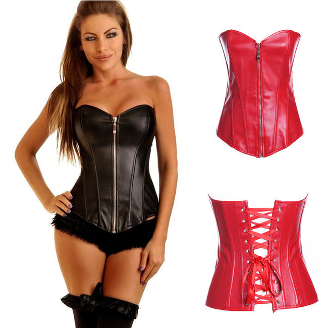 Shapewear - Women Leather Sexy Bustier Overbust Corset Tops S-6XL