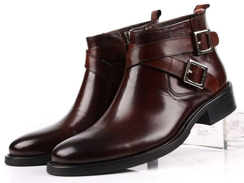 Ankle Boots - Double Buckle Business Mens  Genuine Leather Boots