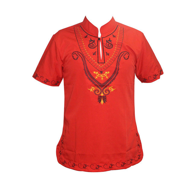 Mens Tops - African Dashiki Short Sleeve Stand Neck Embroidery Tee