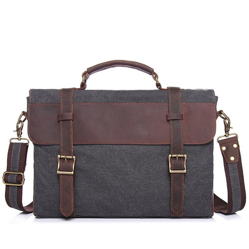 Bag - Patchwork Men Leather&Canvas Computer Handbag