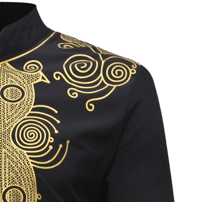 Men's Tops - African Dashiki Traditional Stand Collar Shirt
