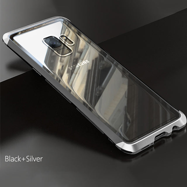 Phone Case - Luxury Metal Hard Frame Transparent Tempered Glass Back Cover For Samsung Galaxy S9