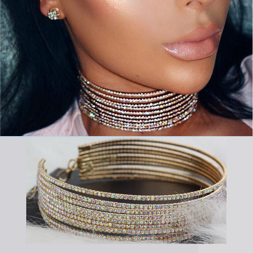 Choker - Multilayer Rhinestone Choker Necklace