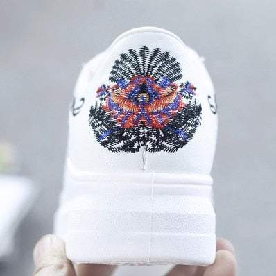 Casual Shoes - Fashion Embroidered Breathable Hollow Lace-Up Sneakers