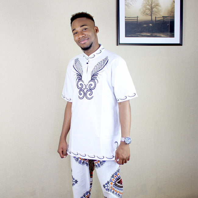Shirt - Vintage African Dashiki Embroidered T-shirt