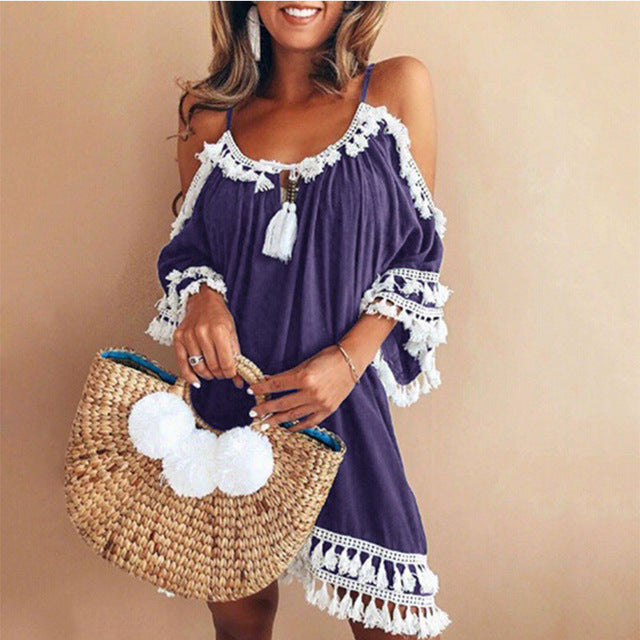 Dress - Plus Size Bohemian Tasseled Cold Shoulder Dresses